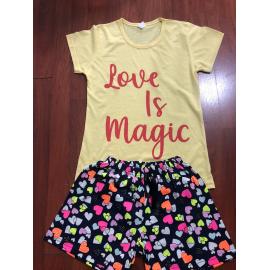 Pijama scurta Magic galben
