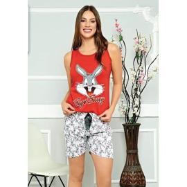 Pijama scurta Bunny Smile rosu