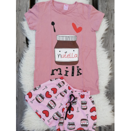 Pijama scurta Nutella roz