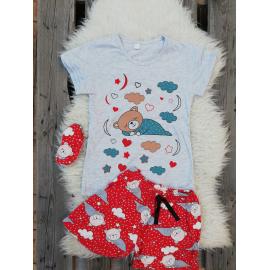 Pijama scurta Sleepy Bear alb