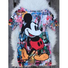 Rochie scurta cu desene Mickey Multicolor