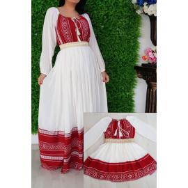 Set rochii lungi Mama-Fiica cu model traditional Anna rosu