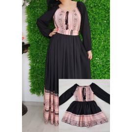 Set rochii lungi Mama-Fiica cu model traditional Anna negru