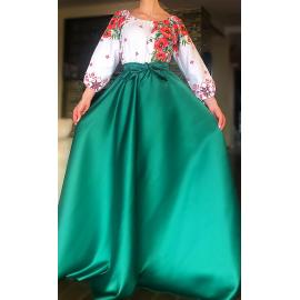 Rochie lunga cu motive traditionale Loret verde