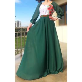 Rochie lunga cu motive Florale Estera verde