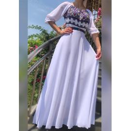 Rochie lunga cu motive Traditionale sorana alb