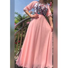 Rochie lunga cu motive traditionale Giulieta roz