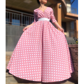Rochie lunga cu buline Adnana roz