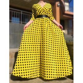 Rochie lunga cu buline Adnana galben