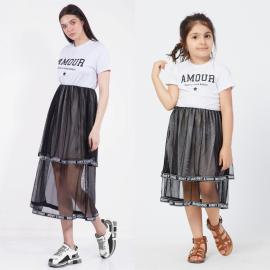 Set rochie mama-fiica cu tull Amour
