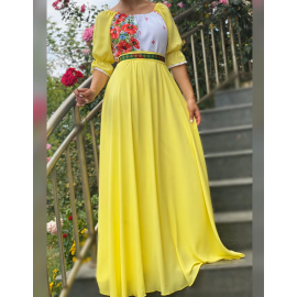Rochie lunga cu motive Florale Estera galben