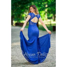 Rochie albastra tip sirena cu spate decupat Prestige