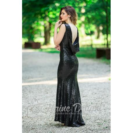 Rochie neagra cu paiete si spatele gol
