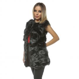 Vesta lunga de blana Frozen neagra
