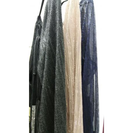 Rochie din voal negru Glamour cu insertie fir argintiu