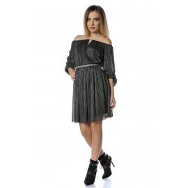 Rochie din lurex negru Glamour cu insertie fir argintiu