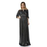 Rochie lunga din lurex Glamour negru