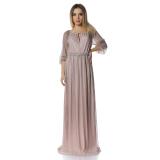 Rochie lunga din lurex Glamour roz pudra