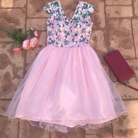 Rochie clos cu tull tip corset roz cu flori