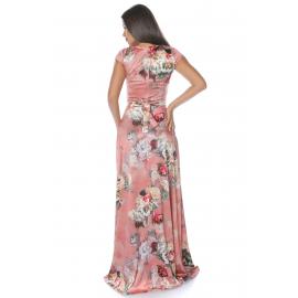 Rochie lunga cu flori si buzunare roz