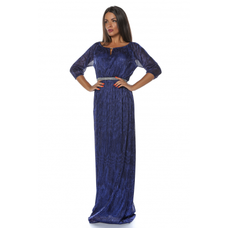 Rochie lunga din voal Glamour albastru