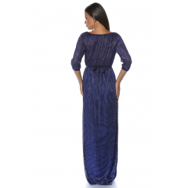 Rochie lunga din lurex Glamour albastru