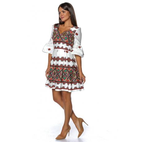 Rochie midi cu motive traditionale