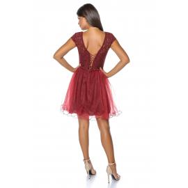 Rochie clos cu tull tip corset Bordo