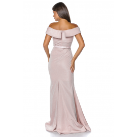 Rochie lunga sirena pe umeri roz