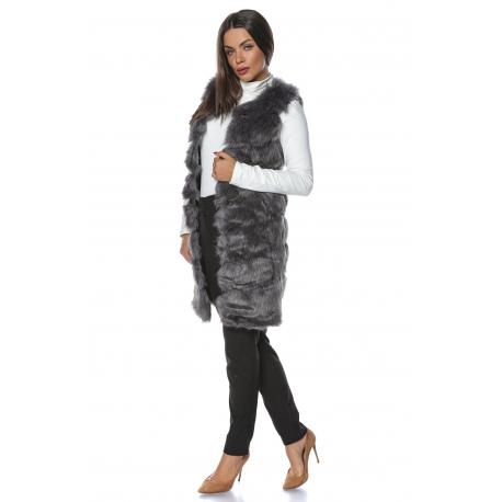 Vesta lunga de blana Elegance gri