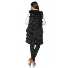 Vesta lunga de blana Elegance neagra