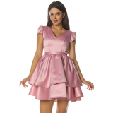 Rochie cu falduri din satin Lovely roz