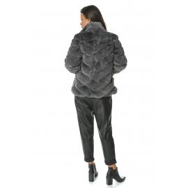 Jacheta de blana gri cu guler inalt Mirage