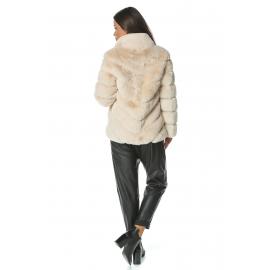 Jacheta de blana cream cu guler inalt Mirage